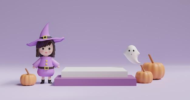 カボチャ、魔女、かわいい幽霊、製品の表彰台のあるハロウィーンの日。