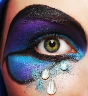 Женский глаз с ярким креативным макияжем