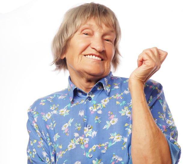 幸せな年配の女性
