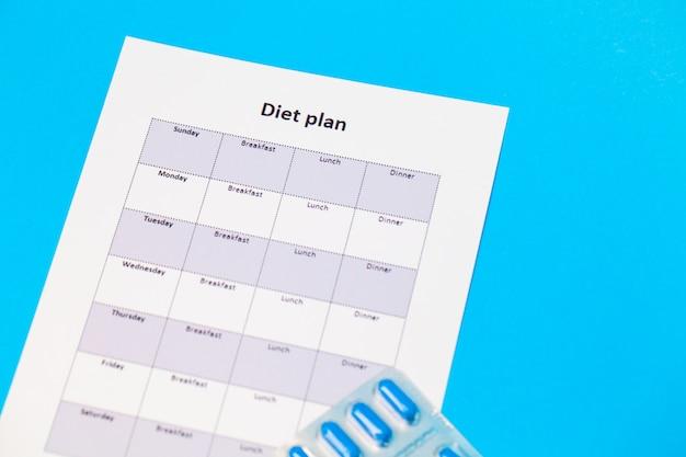 План диеты и пилюли потери веса на сини.