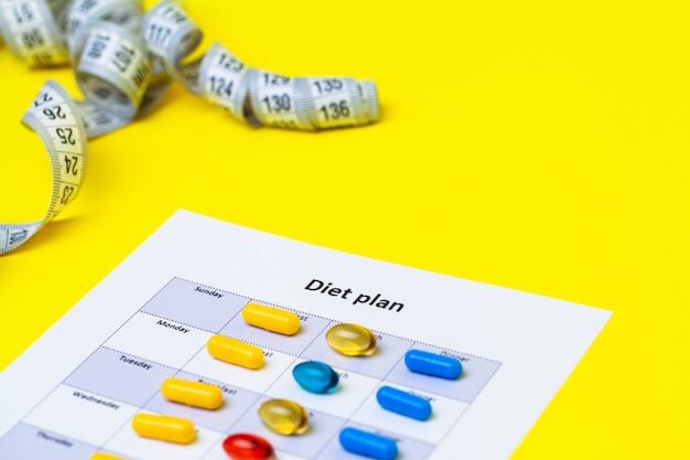 ダイエット計画と黄色の減量の丸薬