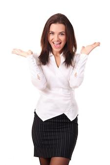 幸せな白人女性実業家の手で調達白で隔離される彼女の勝利を祝う