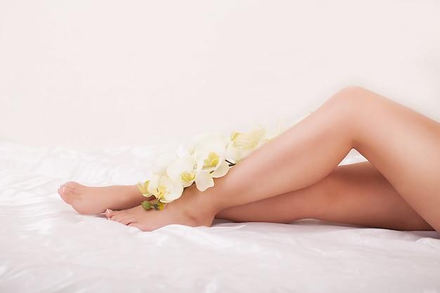 滑らかな肌の長い女性の足