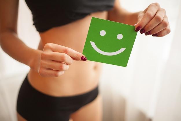 女性の健康。スマイルカードとパンティーの美しい女性の身体