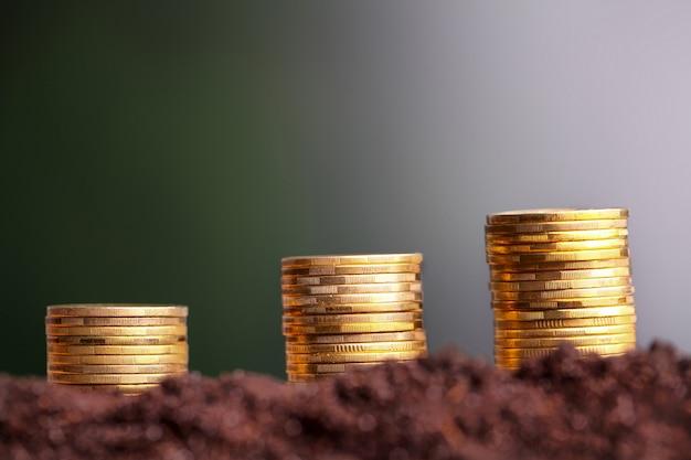 土壌から成長しているユーロ硬貨。
