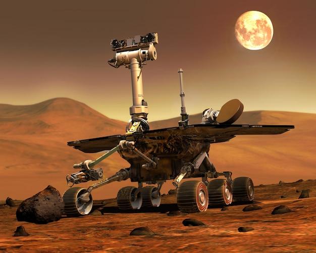Марс роверс приземлился. элементы этого изображения, представленные наса