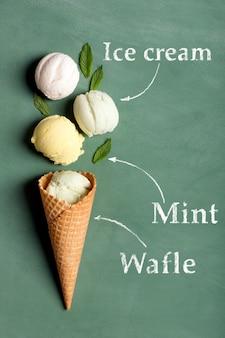 黒板にアイスクリームワッフル