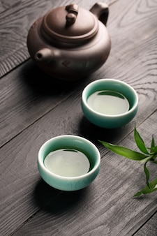 Зеленый чай в чайных чашках
