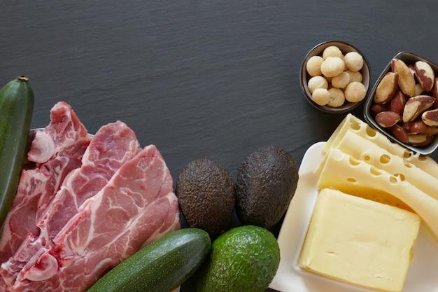 Кето диета. набор продуктов для низкоуглеводной кетогенной диеты на черном