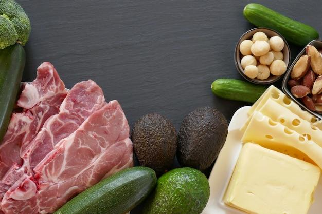 Кето диета. набор продуктов для низкоуглеводной кетогенной диеты