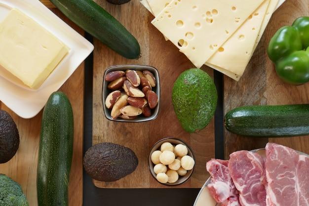 Кетогенная диета. низкоуглеводная диета. высококалорийная пища. набор продуктов для кето-диеты. сыр, масло, авокадо, орехи, мясо, свинина. здоровая пища низкоуглеводная кето-кетогенная диета