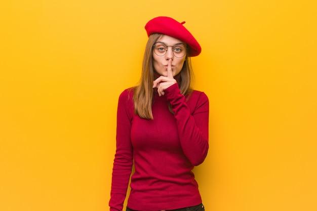 若いフランス人アーティストの女性が秘密を守ったり、沈黙を求めて