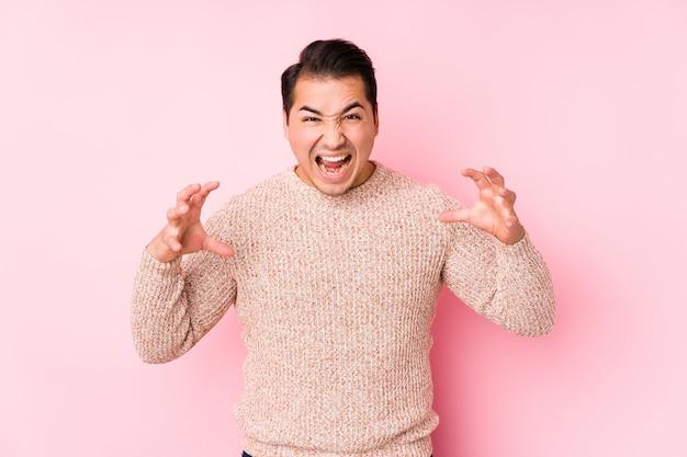 怒りで叫んで分離されたピンクの壁でポーズをとって若い曲線の男。