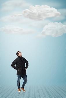 フルボディの若い男は、白い背景の上に見上げます