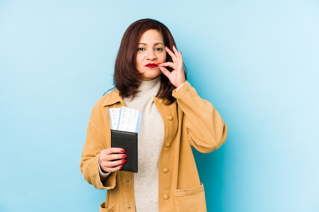 秘密を守る唇に指でパスポートを保持している中年ラテン女性。