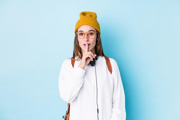 若い学生女性が秘密を守るか沈黙を求めて分離しました。
