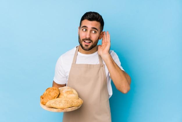 Молодой красавец пекарь пытается слушать сплетни.