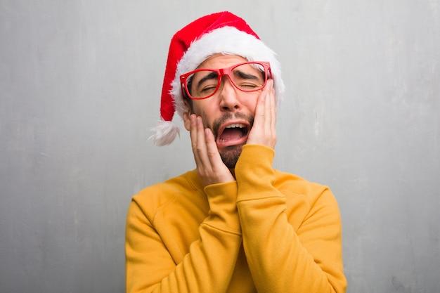 若い、お祝い、クリスマス、日、プレゼント、欲求、悲しみ、悲しい