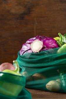 Сетчатые мешки разных овощей