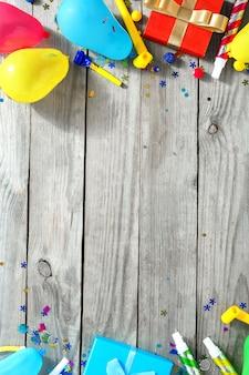 Рамка украшения партии вид сверху узор на день рождения плоская планировка
