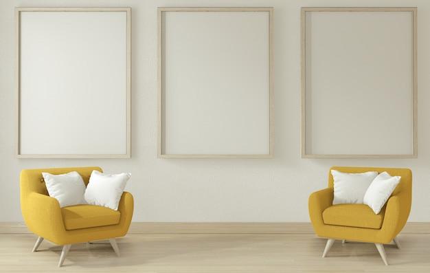 Интерьер гостиной с желтым диваном и креслом.