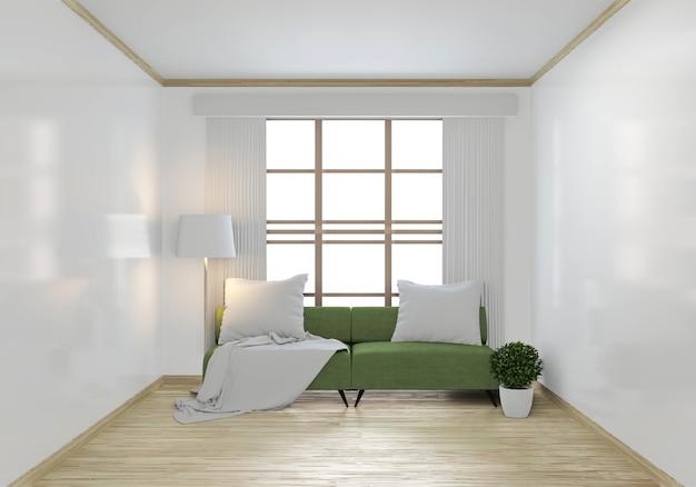 緑のソファと装飾用植物のモックアップ