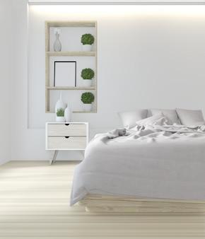 Белая кровать комната японского дизайна