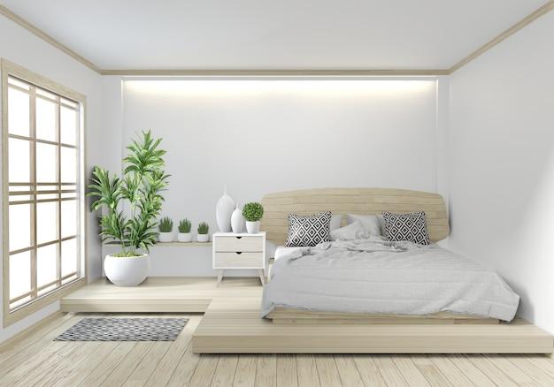 Спальня деревянная гостиница японский дзен дизайн с подсветкой на белом фоне стены