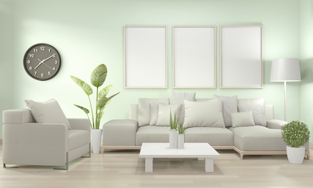 Макет плаката в гостиной с желтым диваном и декоративными растениями на полу