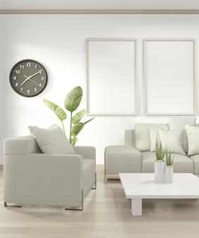 床に黄色のソファと装飾植物のあるリビングルームのポスターフレームのモックアップします。