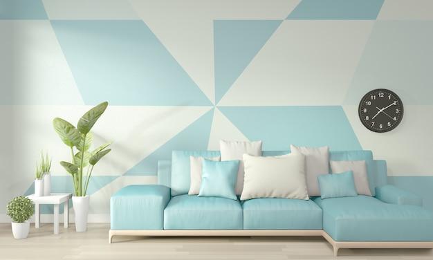 木製の床に明るい青と白のリビングルームの幾何学的な壁アートペイントデザインカラーフルスタイルのアイデア