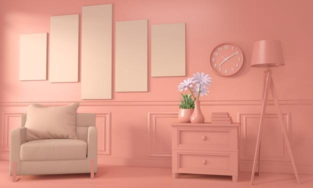 アームチェアと装飾は、部屋のインテリア色のリビングコーラルスタイルをモックアップします