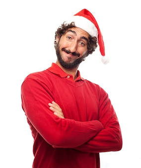 サンタの帽子を持つ男