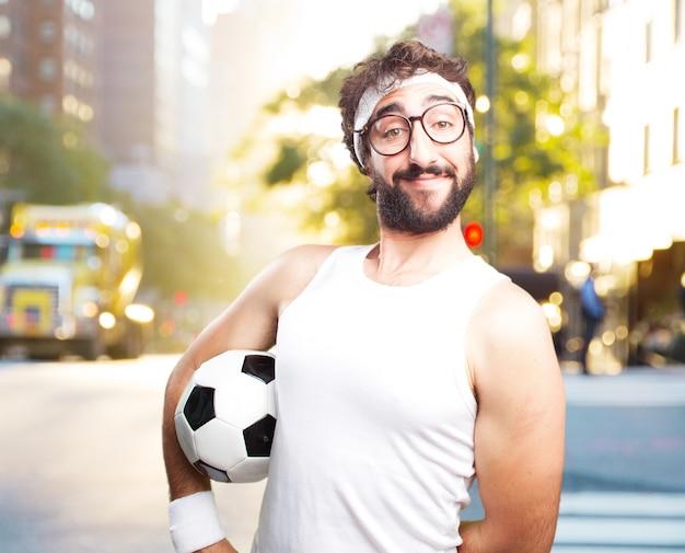 若い狂気のスポーツマン。幸せそうな表情