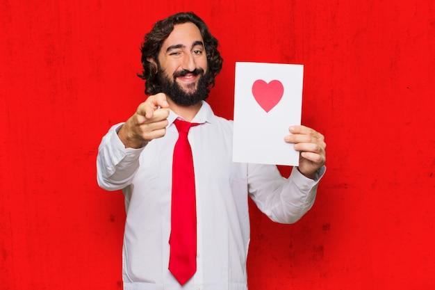 恋、バレンタインデーのコンセプトで狂った若者。