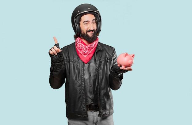 Мотоциклист с копилкой