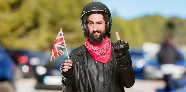 イギリスの国旗とバイクのライダー