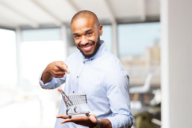 黒のビジネスマン幸せそうな表情