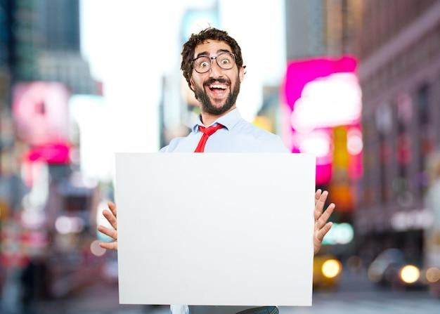 Сумасшедший бизнесмен. удивлен выражение
