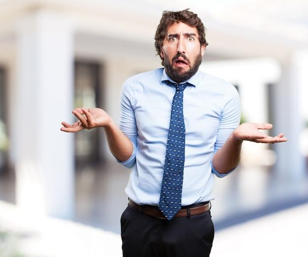Сумасшедший бизнесмен озабоченное выражение