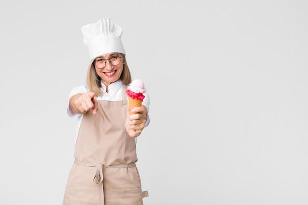 アイスクリームと中年のかなりパン屋の女性