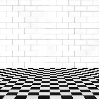 レンガの壁とタイル張りの床