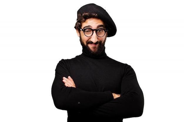 交差参照するにはメガネや腕を持つ男