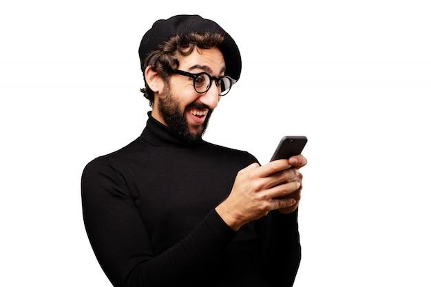 ビジネスマン、若いライフスタイルのスマートフォンの肖像画