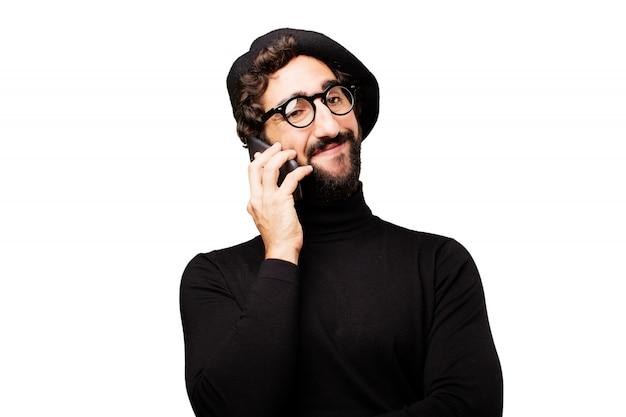 インターネット、人間携帯電話の男性画家