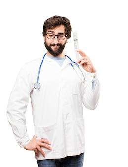 若い、ドクター、男、注射器