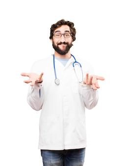 考えている若い医者の男
