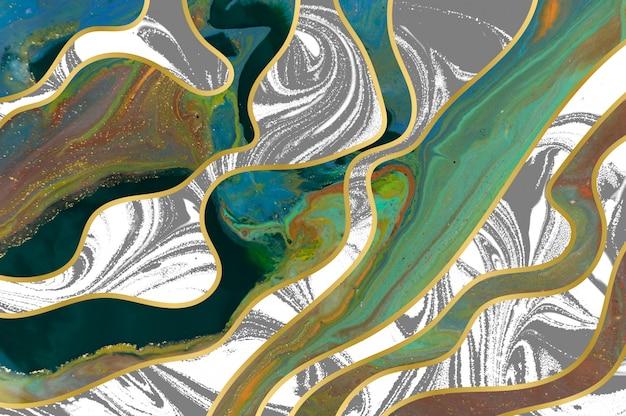 グリーン、グレー、ゴールドのリップルパターン。レイヤーのある大理石のテクスチャ。金の粒子。