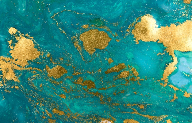 Мраморный синий и золотой абстрактный фон. жидкий мраморный рисунок.