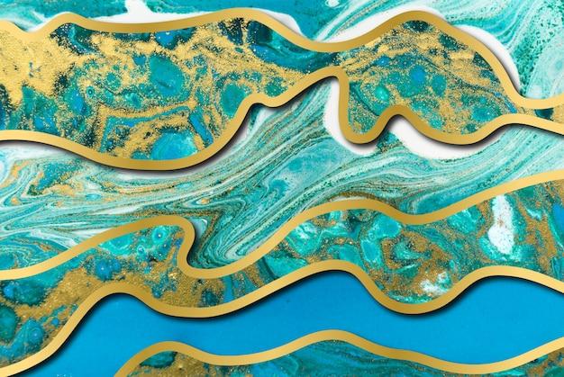 ブルーとゴールドの瑪瑙リップルパターン。波のレイヤーと大理石の背景。